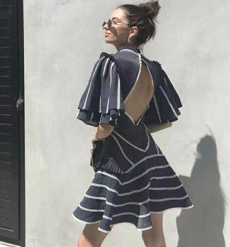 Printemps Courtes Rayé Piste Dos 2019 Ouvert Femmes Robes À Parti Robe Flare Vintage Manches Sexy D'été Kawaii Bq5p7ww