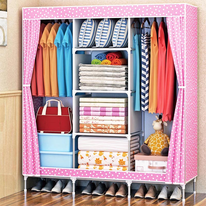 Minimalist Combination Wardrobe Household Non Woven Wardrobe Bedroom Multifunctional Storage Cabinet Home Furniture duh non woven wardrobe combination wardrobe double folding wardrobe assembling home furnishing decoration coat hangers locker