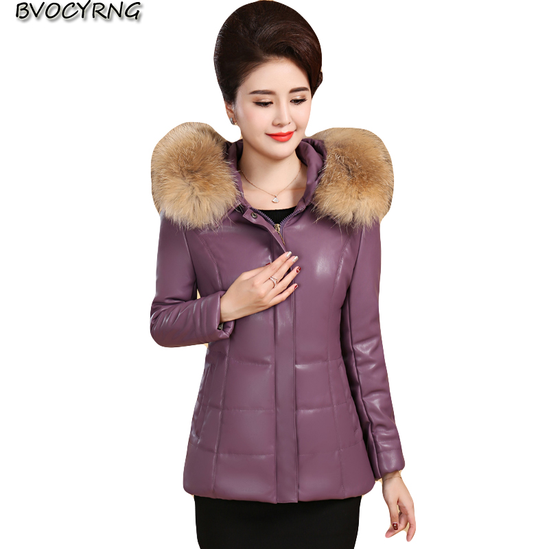Winter women's   leather   large size thick down cotton jacket women short middle-aged clothing coat female high-end   leather   tops