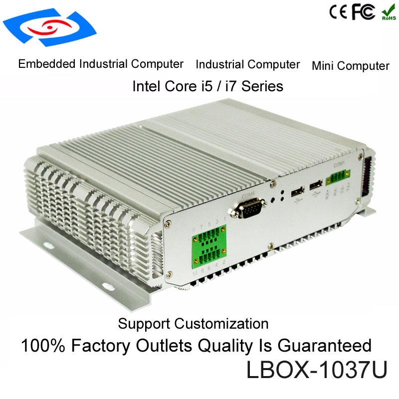Fanless Mini PC Industrial Computer With USB 3.0 Dual Gigabit LAN 4 COM HDMI Intel Core I5-3317U I7-3517U Windows 10 Linux