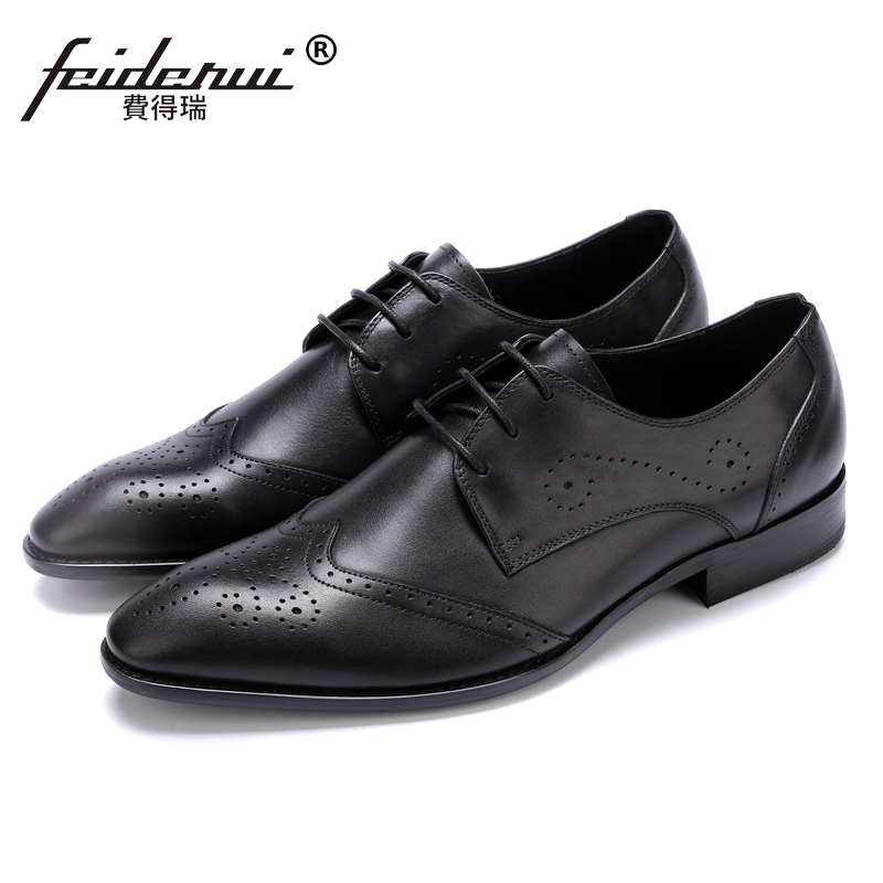 New Vintage British Style Man Formal Party Wedding Shoes Genuine Leather Handmade Carved Men's Pointed Toe Brogue Footwear JS85 цена
