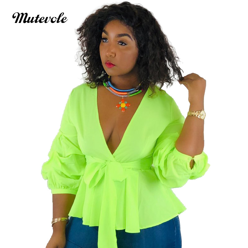 Mutevole Women Chiffon Puff Sleeve Deep V Neck   Blouse   Casual Solid Color   Shirt     Blouses   Belt Summer Elegant Sexy Party   Blouse   Top