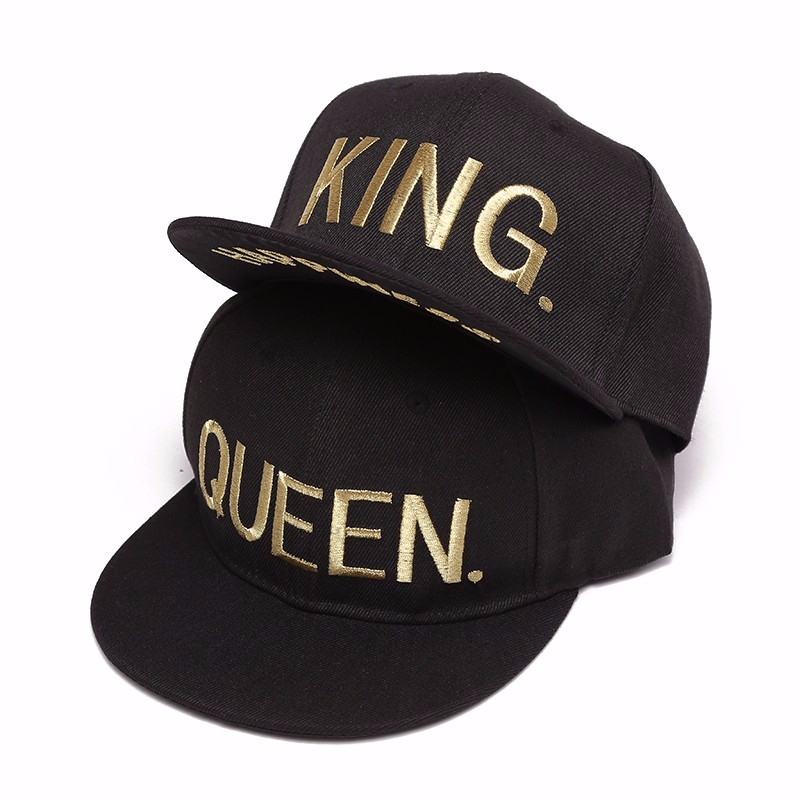 KING QUEEN gold shine Print Trucker Caps Men Women Summer Visor Snapback Hat White Black Couple baseball cap