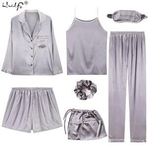Image 2 - 2019 Women 7 Pieces Pajamas Sets Stripe Printing Satin Silk Pajamas Womens Sleepwear Lovely Home Clothing Long And Short Pijama