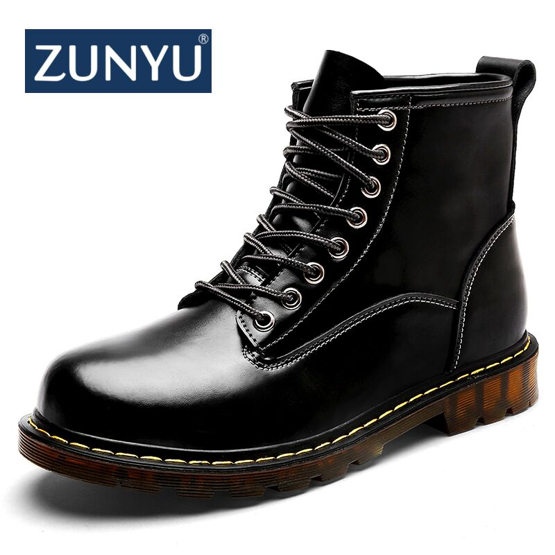 ZUNYU New Super Warm Men's Winter Leather Ankle Boots Men Autumn Waterproof Snow Boots Leisure Martin Autumn Boots Shoes Mens mulinsen new 2017 autumn winter men