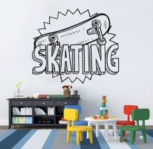 Skateboard Vinyl Sticker Skating Sports Wall Decal Kids Gift Art Mural Room Removable Home Decor AY1198