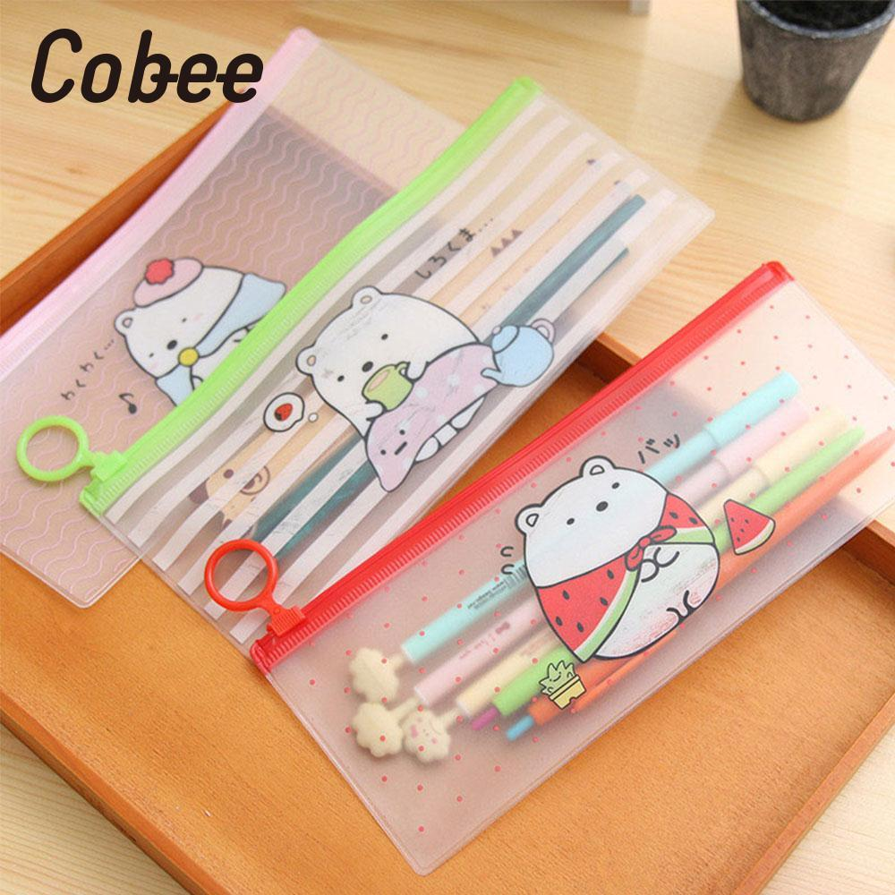 Cobee Pencil Bag Cartoon Bear Pattern PVC Pencil Case Organizer Cute Kawaii Random Pencil Case School supplies childrens gift