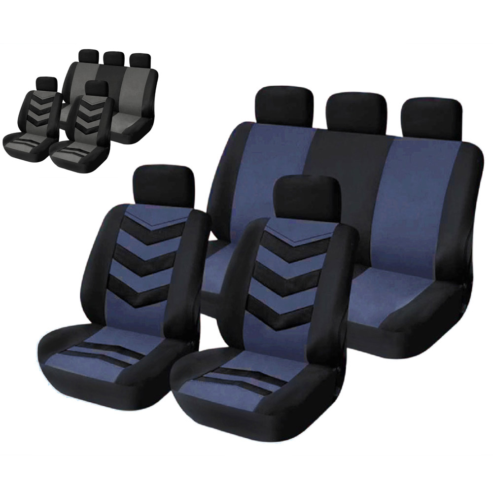 9Pcs Seat Covers Universal Car Seat Cover Set Headrest Covers Front Seat Back Seat Mesh Blue and Gray Auto Interior Decoration