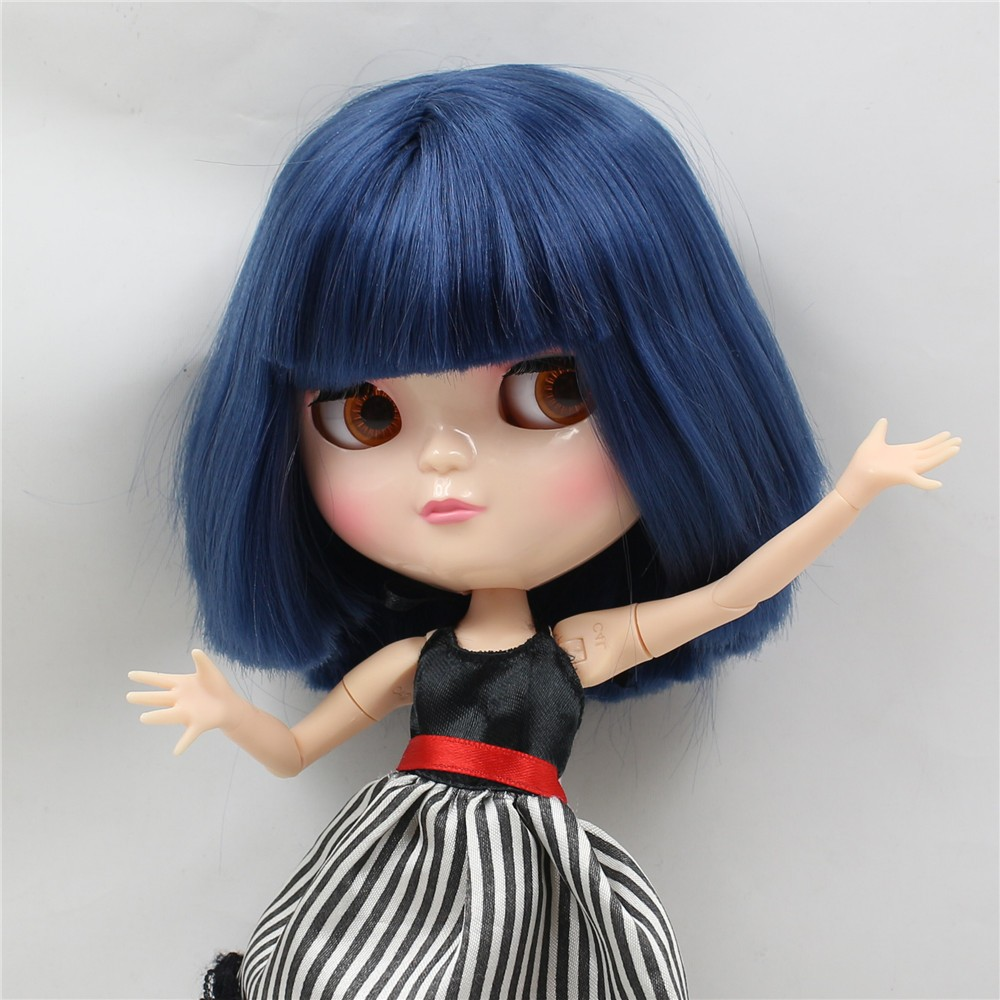 Neo Blythe Doll with Blue Hair, White Skin, Shiny Face & Jointed Azone Body 3