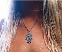 Women Lady Hamsa Hand of Fatima Bead Pendant Charm Silver Tone Chain  Vintage Necklace Jewelry