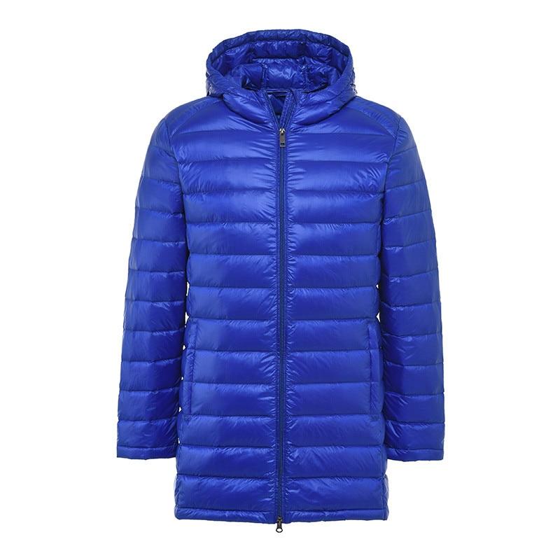 Sanishroly Men Hooded   Down     Coat   Parkas Ultra Light White Duck   Down   Jacket Male Slim Mid-Long   Coats   Thin Outwear Plus Size SE488