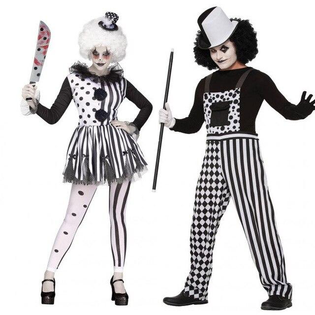 fc50ba730a19e4 Coppia di adulti Pagliaccio Tute Vestiti di Prestazione Costumi Partito  Cosplay di Carnevale di Halloween Pagliaccio