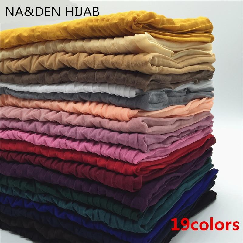 Hot sale high quality solid color crumple chiffon fringe scarf scarves shawl women Muslim hijab bandana