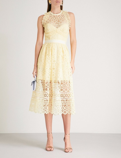 20d2927245bf 2018 New arrive yellow circle floral lace midi dress-in Dresses from ...