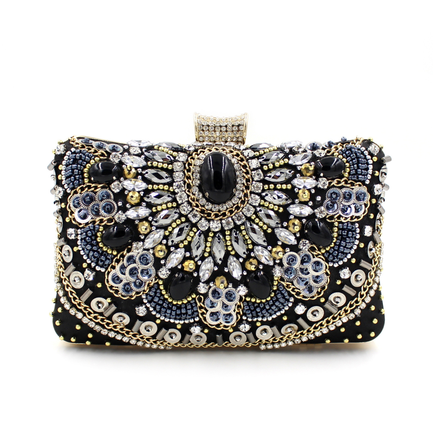 2016 Handmade Crystal Chian Bead Black Evening Clutch Bags Purse Prom Wedding Women Dinner Bag Beg Bolsa Feminina Aj Sac A Main 2016 handmade crystal chian bead black evening clutch bags purse prom wedding women dinner bag beg bolsa feminina aj sac a main