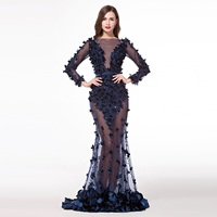 Ziad Nakad Mermaid Evening Dresses With Open Back Long Sleeve Sexy See Through Formal Navy Blue