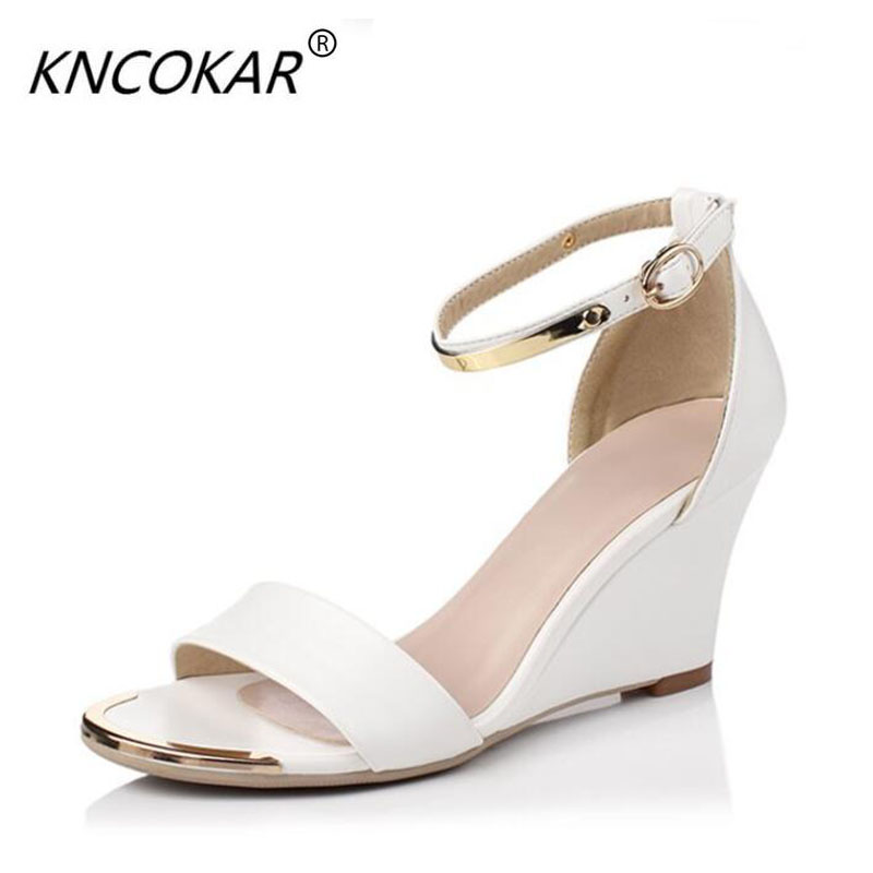 2017 Summer Women High Heels Sandals Open Toe Wedges Heels Sandals Women Concise Dress Shoes Ankle Strap Party Shoes white black e toy word summer platform wedges women sandals antiskid high heels shoes string beads open toe female slippers
