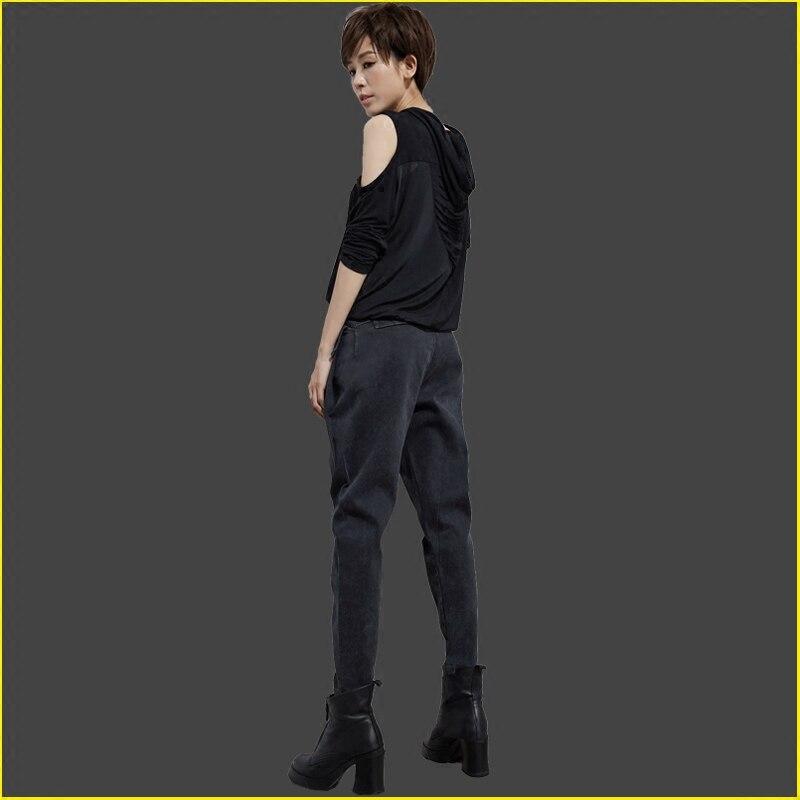 2017 Women Fashion Spring Pocket Zip Off Shoulder T Shirt Top Match Long Washed Jeans Pencil Pants Set Female Casual Hollow Set