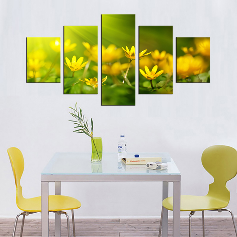 Modern Painting On Canvas Home Hd Printed 5 Panel Small Yellow