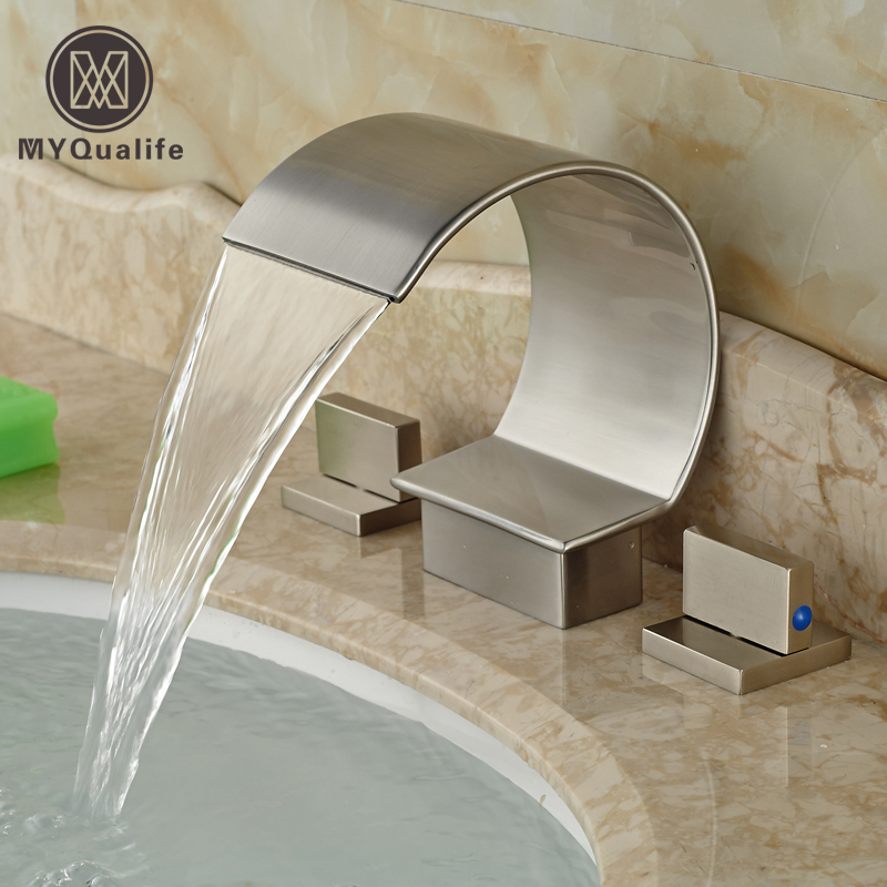 Curved Waterfall Spout Bathroom Basin Mixer taps Deck Mount Brushed Nickel Hot Cold Water Faucet dual handle curve spout waterfall basin mixer taps deck mount 3 holes bathroom faucet brushed nickel finish