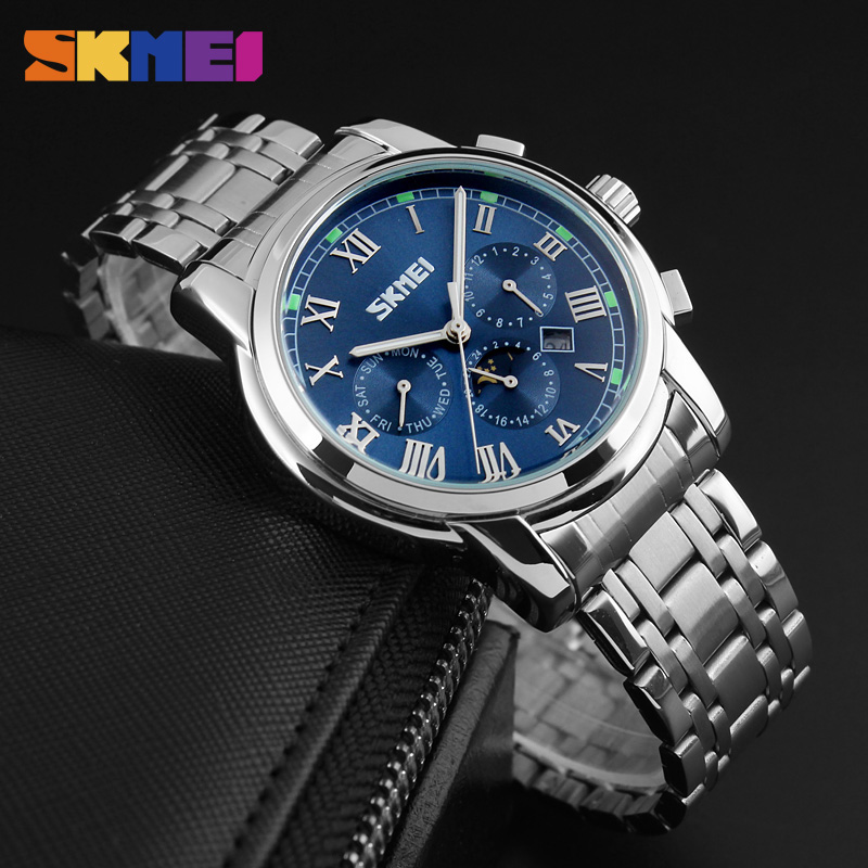 New Arrival SKMEI Men Business Watches Male Roman Classic Quartz Wristwatch Stainless Steel Watch Relogio Masculino 9121