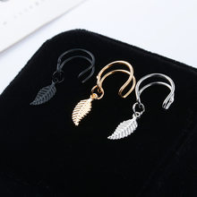 1pc Punk Rock Geometric U shape Ear Clip Cuff Wrap Earrings No piercing-Clip leaf Pattern earrings Statement jewelry for women(China)