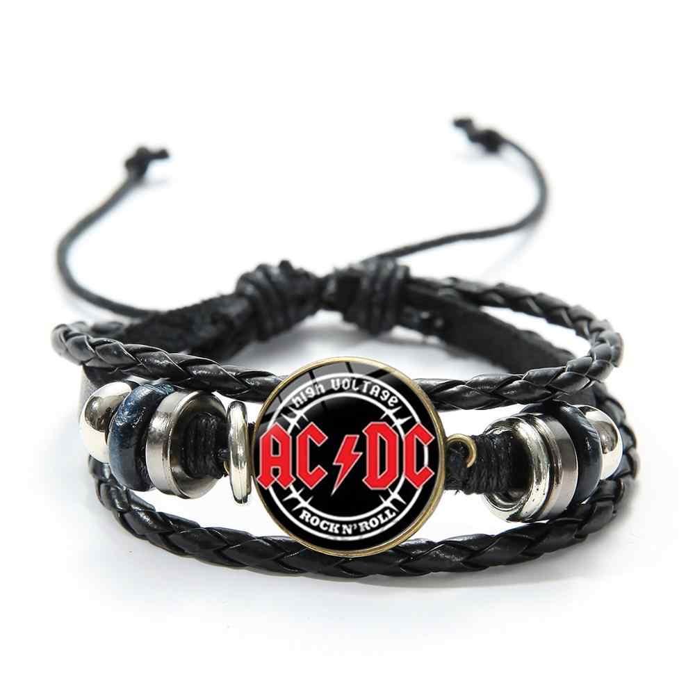 Banda de Rock SONGDA pulseras símbolo AC/CC banda de música Pop Rock and Roll cultura ACDC cristal Punk joyería pulsera de cuero hombres mujeres