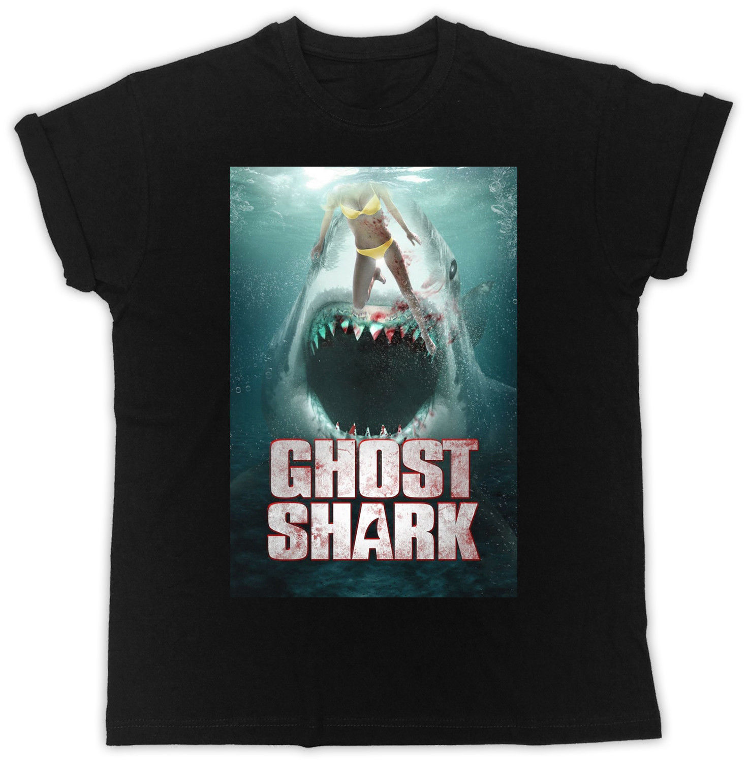 COOL FUNNY GHOST SHARK MOVIE POSTER TSHIRT UNISEX BLACK MENS T SHIRT image