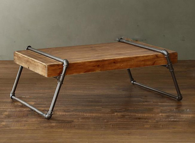 Amazing American Pine Wood Tea Table Iron Pipes Boutique Style Long Table LOFT  Industrial Metal Pipe Coffee
