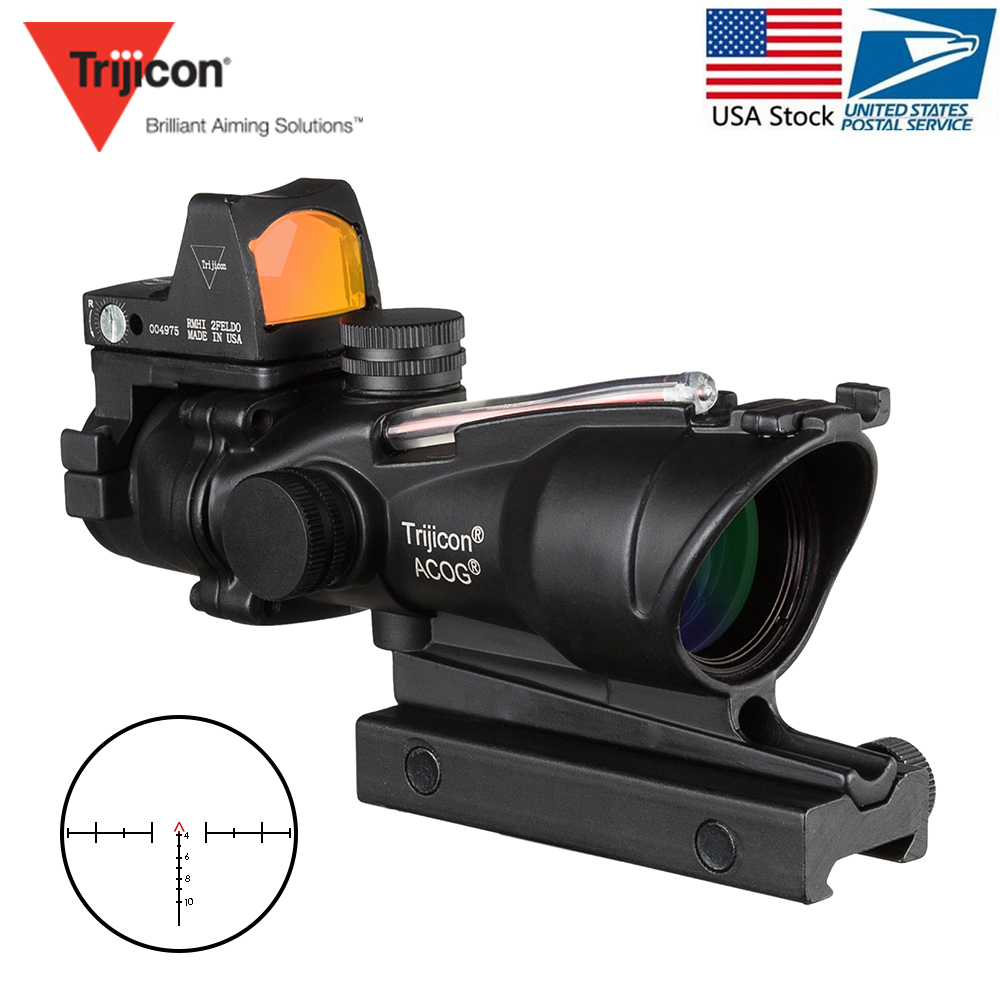 Acog 4x32 Optic Scope Riflescope Cahevron Reticle Fiber Green Red Illuminated Optic Sight With Rmr Mini Red Dot Sight