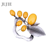 JUJIE Fashion Multicolor Resin Green Leaf Brooches For Women 2019 Vintage Brincos Brooch Pins For Men Plant Jewelry Wholesale рама белоснежка paula 2024 bb