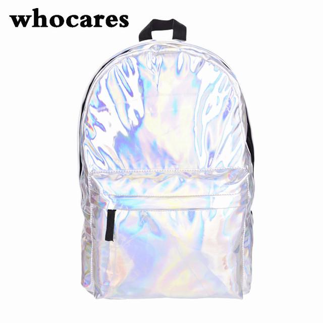 Qualidade do couro mochila laptop mulheres Holograma Mochila Para Estudante Da Escola mochilas Saco Holográfico Laser Cor Prata das Mulheres