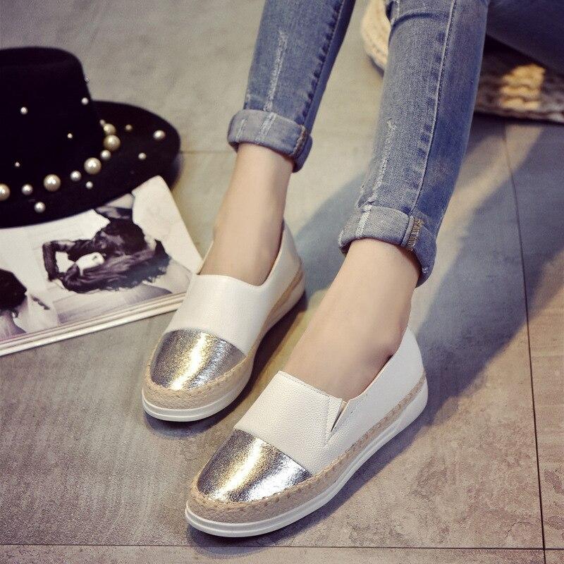 Frauen Wohnungen Schuhe Loafers Flacher Slip Auf 2018 Sommer Herbst Mode Runde Kappe Plattform Süße Flache Beiläufige Bequeme