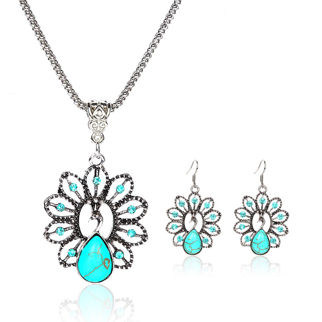 New Big Brand  Vintage Antique Silver Plated Tibetan Peacock Turquoise Rhinestone Necklace and Earrings Jewelry Sets E916N423