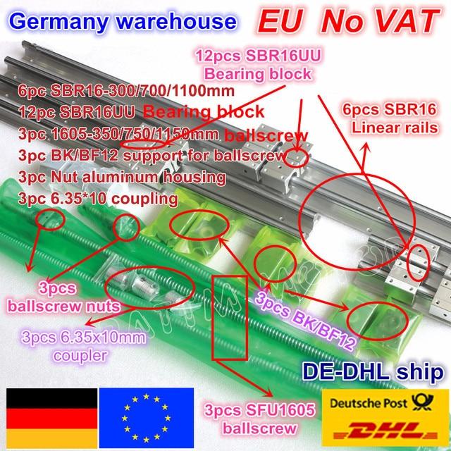 3set Linear Rails SBR16 L 300/700/1100mm & 3set Ballscrew SFU/RM1605 350/750/1150mm & Nut & 3set BK/B12 & Coupler for CNC Router