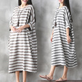 New Women Long Maternity Dresses Pregnant Women Loose Clothing Pregnancy Retro Stripe Casual Cotton Linen Mother Clothes CE298