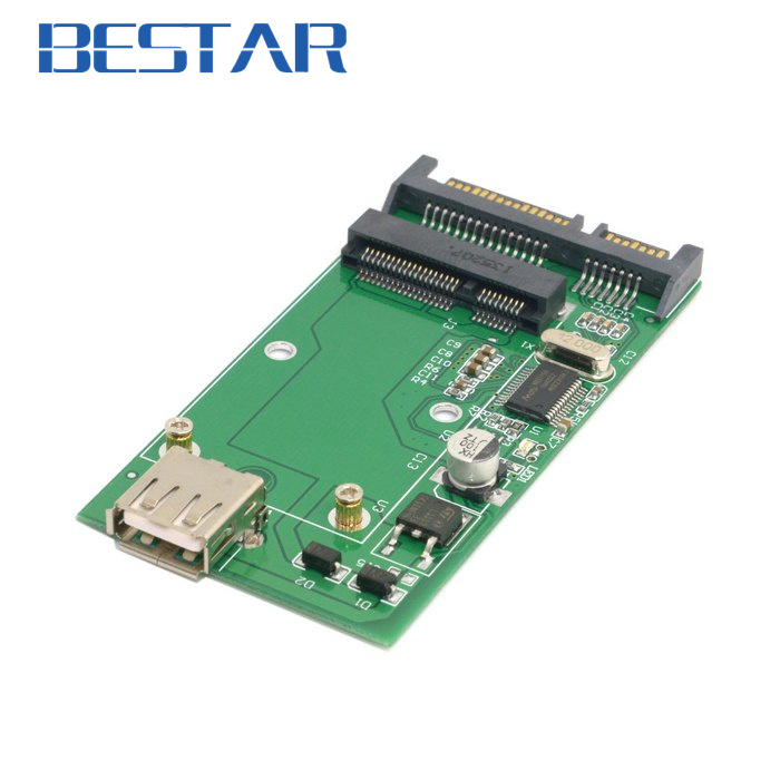 Combo mSATA Solid State Disk SSD to SATA 22pin & USB 2.0 Hard Disk Case Enclosure PCBA cy 50mm mini pci e msata solid state disk ssd to usb 3 0 hard disk case enclosure w cable sky blue