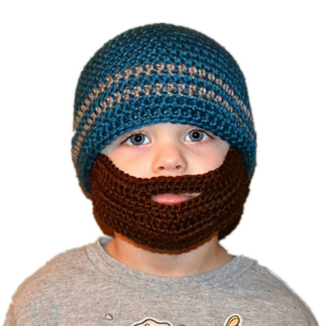 Kids Winter Hats Viking Pirate Hats with Beard Cosplay Crochet Beanie  Knitting Cap for Boys Girls Knitted Hat with Gauze Mask d3777fdc9867