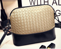 DL069 Mujer bolsos 23*10*19 cm de Corea nueva moda de invierno retro tejer patrón de mosaico de LA PU shell medium bolso de hombro Bolsa de Mensajero