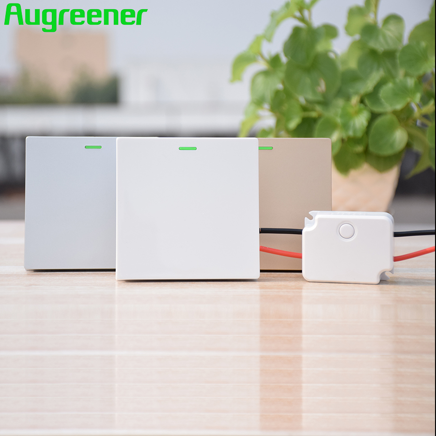Augreener Wireless Wall Switch No Battery 70 m Long Range Button Waterproof AC 100V-240V Remote Control Home light Switch augreener wall switch self powered wireless remote control light no cabling for installation battery free cordless switch