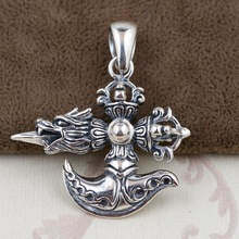 S925 Sterling Silver Pendant Jewelry Wholesale Silver Antique Style Mens accessories Buddhist cross clubbing