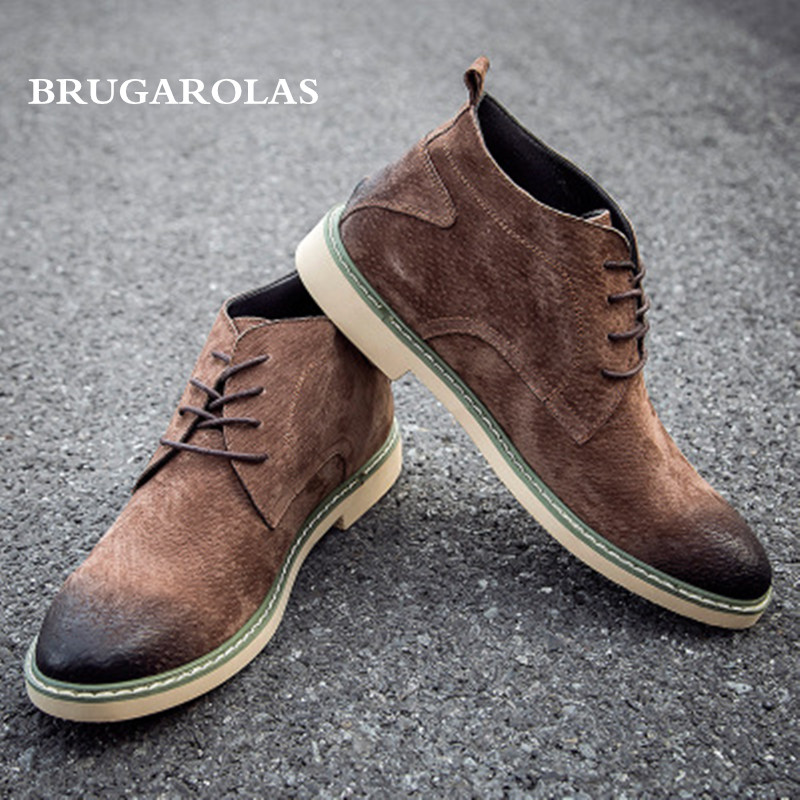 BRUGAROLAS - 100% Genuine Leather Men lace-up Spring/autumn boots,Men Casual brogue Shoes Male Flats Moccasins Driving Shoes brogue boots two tone