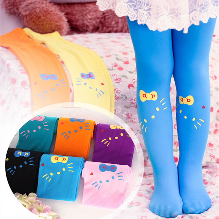 spring kawaii pantyhose and child candy color casual dress high quality kawaii hello kitty tights for girls medias para bebes