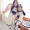 Семья мультфильм милый кот напечатаны пижамы мама / дети отпечатано с длинным рукавом пижамы комплект женщин / девушка одежды для отдыха матери-дочери наряд