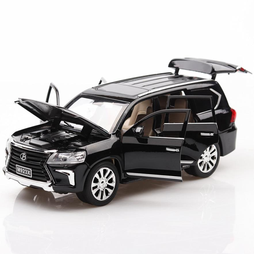 Hot 1:24 scale wheels diecast car toyota lexus suv lx570 metal model with light and sound pull back toys collection for gifts