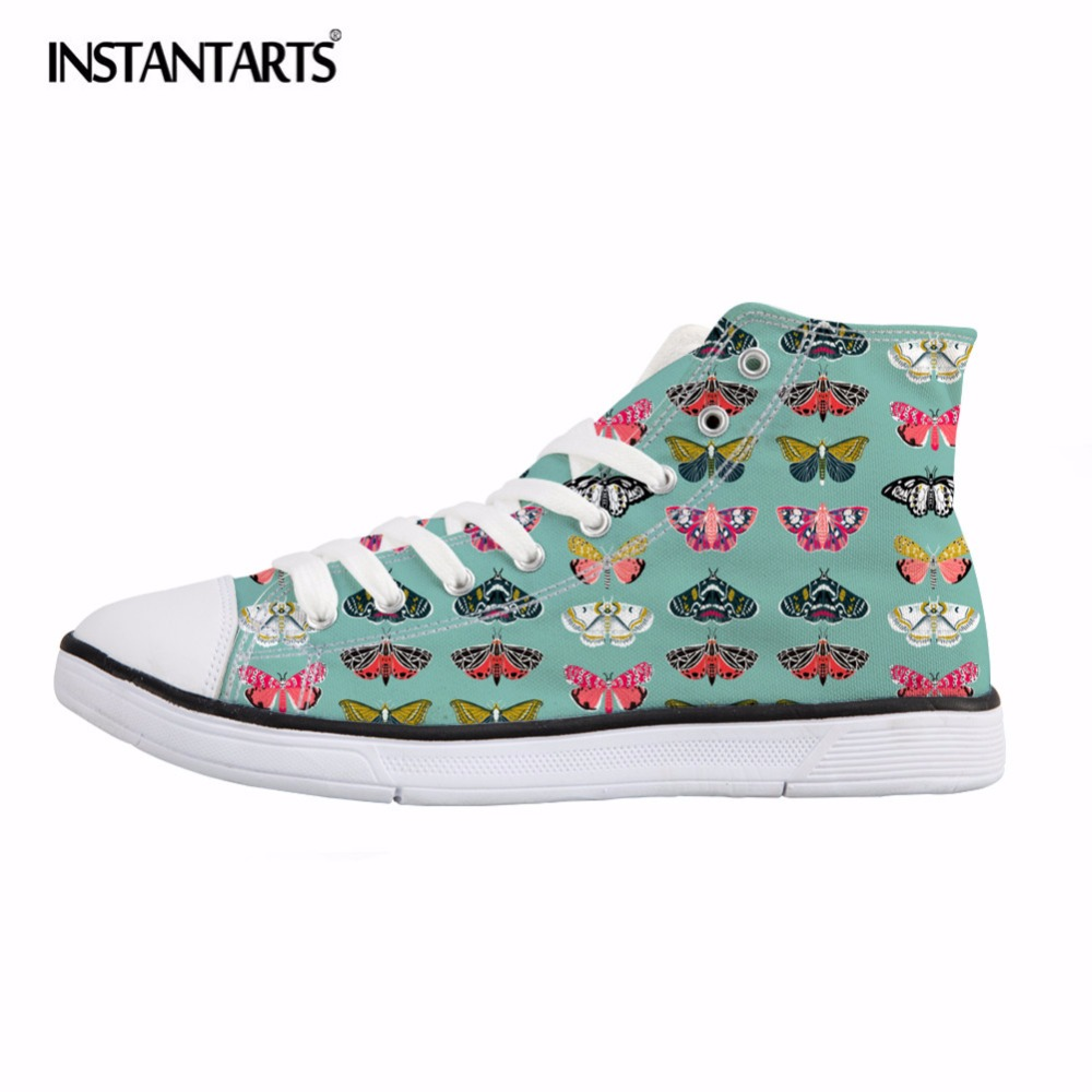 INSTANTARTS Vivid Butterfly Print Women Vulcanize Shoes Casual High Top Canvas Shoes Fashion Lace Up Sneakers Female Footwear