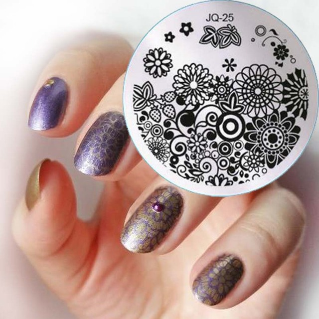 1pc Fashion Style Nail Art Stamping Plates, Lace Flower Image For ...