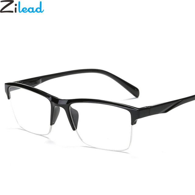 Zilead Ultralight Half Frame Reading Glasses Classical Black Resin Clear Lens Anti-fatigue Presbyopic Glasses Eyewear Glasses