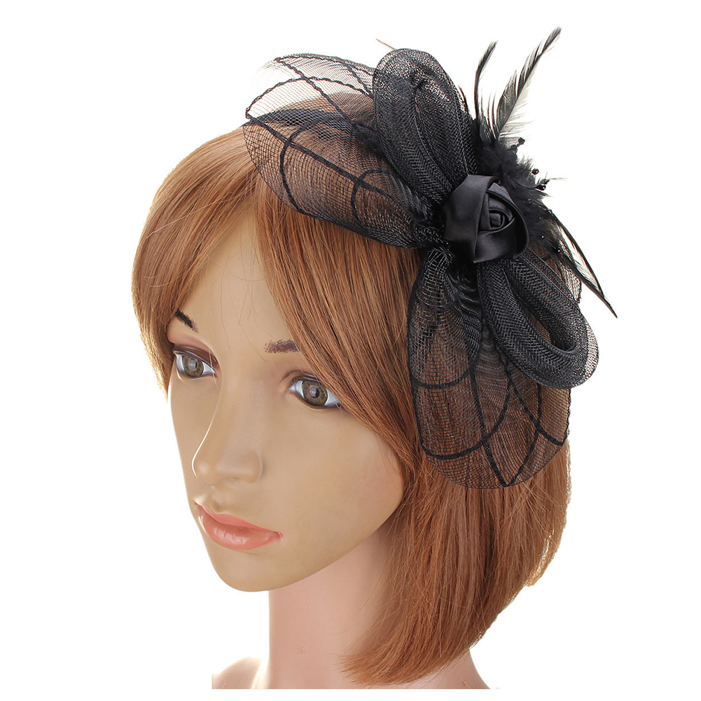 Black Flower Fascinator Hat: Flower Feather Fascinator Headband Hat Wedding Prom Ladies