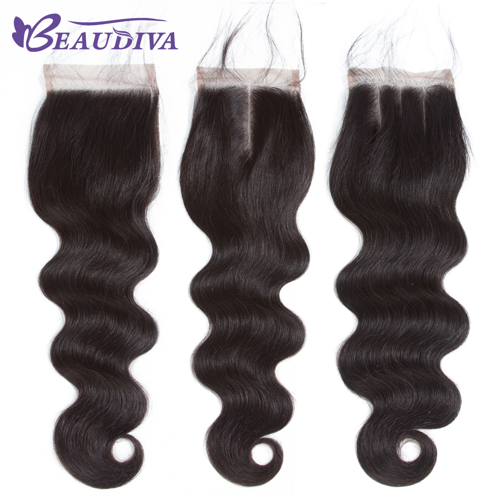 BEAUDIVA Indian Body Wave Lace Closure 4*4 Free Part 130% Swiss Lace 100% Human Hair Closure Raw Indian Hair Free Shipping